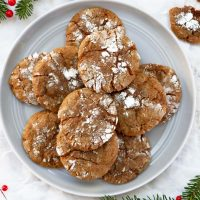 gingerbread crinkle cookies on plate