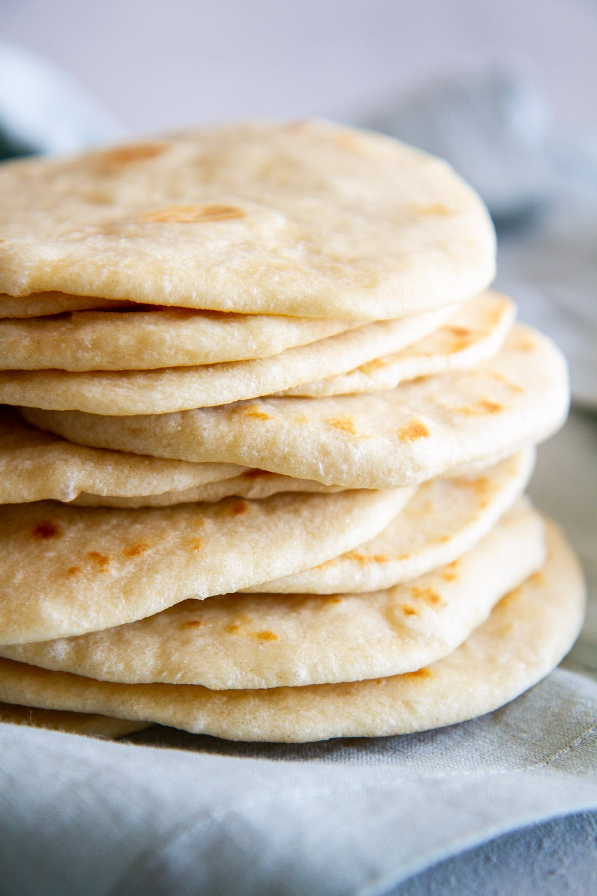 stack of homemade soft flour tortillas