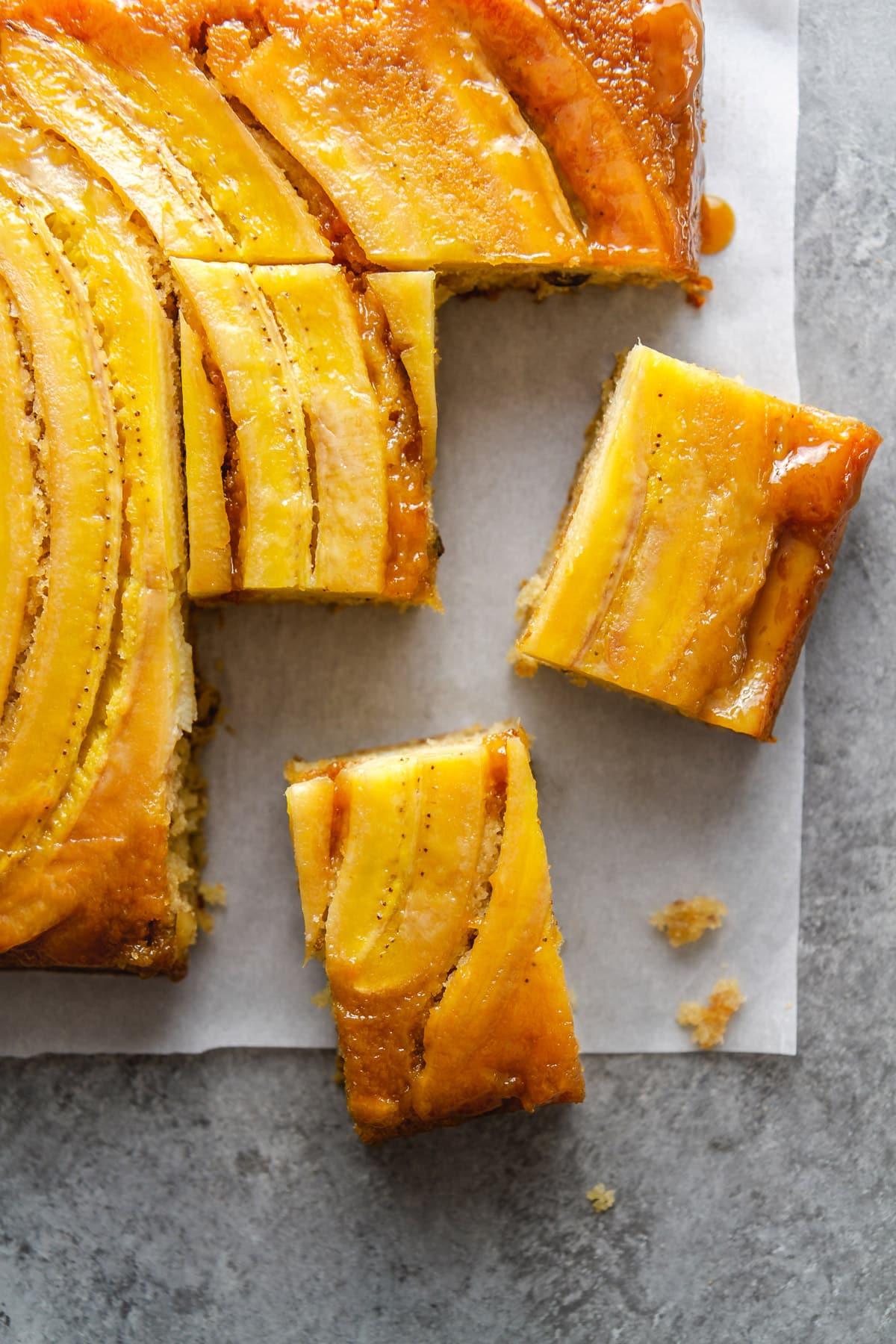 bananas foster upside down cake sliced