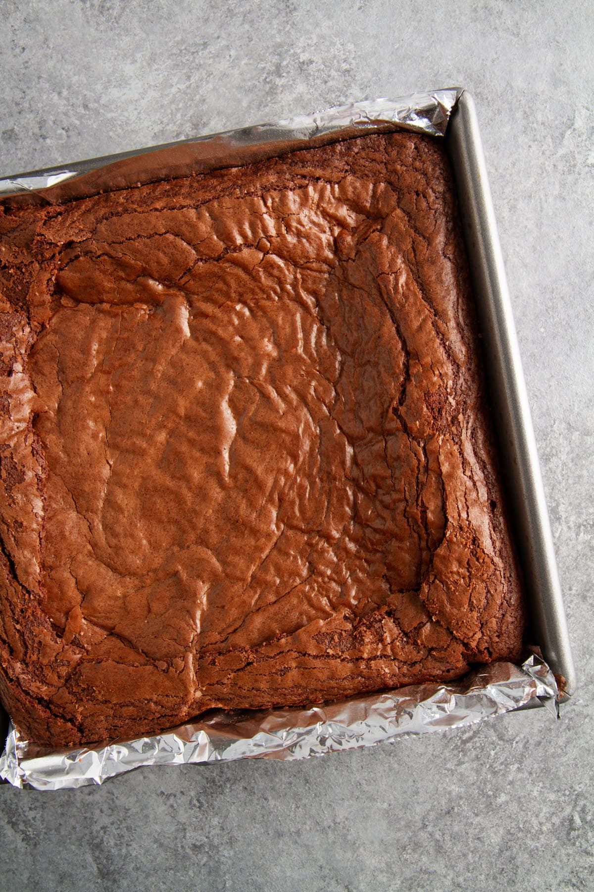 fudgy brownies in baking pan