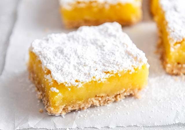 gluten free lemon bars on parchment paper