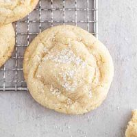 a chewy sugar cookie on a cooling rack