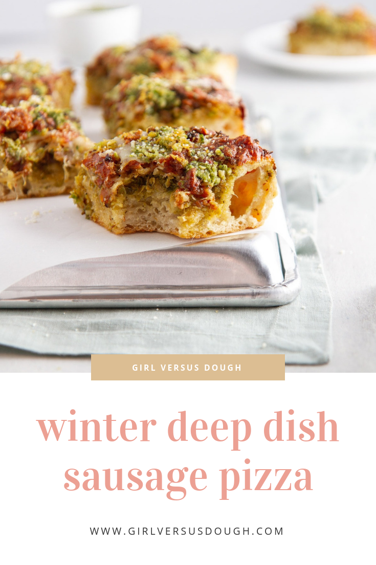 winter deep dish sausage pizza