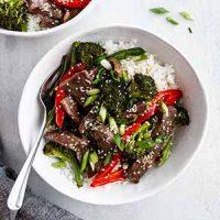 sheet pan Mongolian beef in bowl