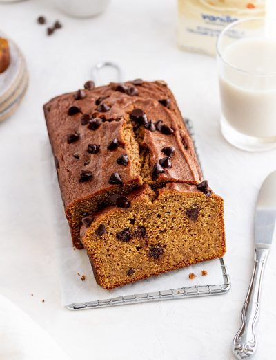 chocolate chip pumpkin bread on a surface