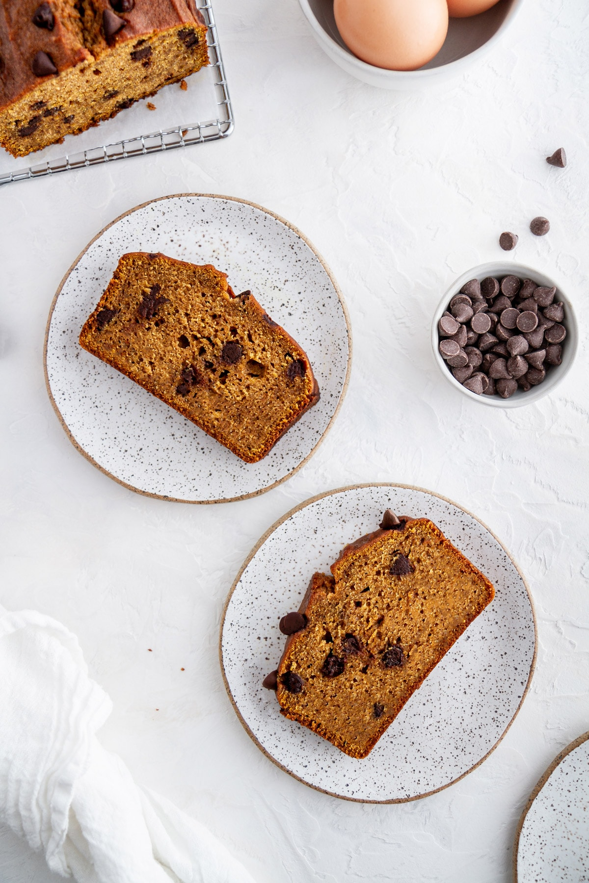 chocolate chip pumpkin bread slices on plates