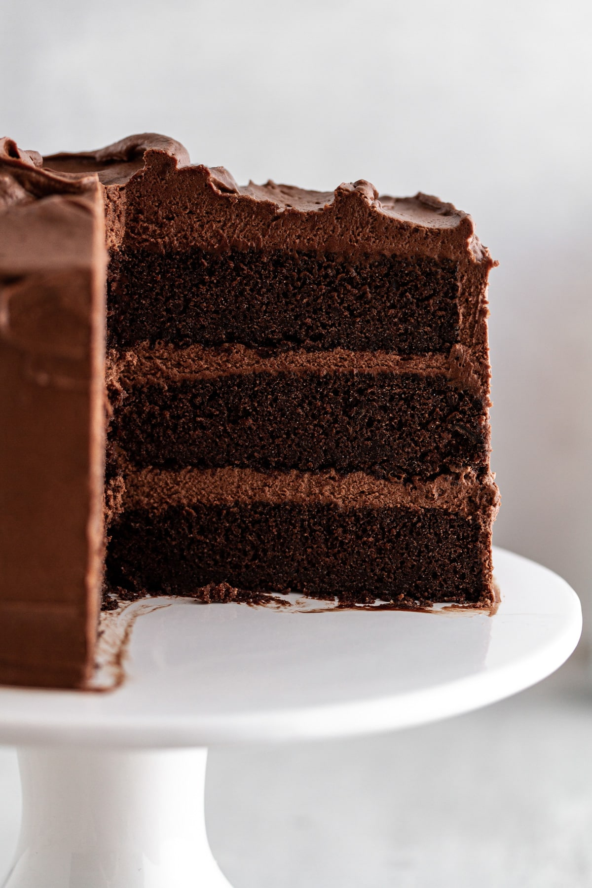 close-up shot of cross-section of Devil's Food Cake