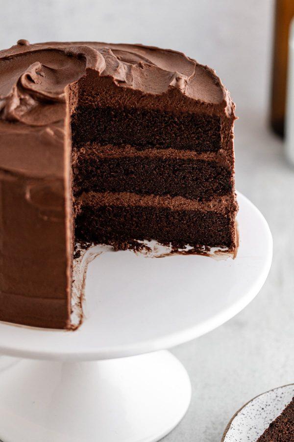 Cross-section shot of Devil's Food Cake