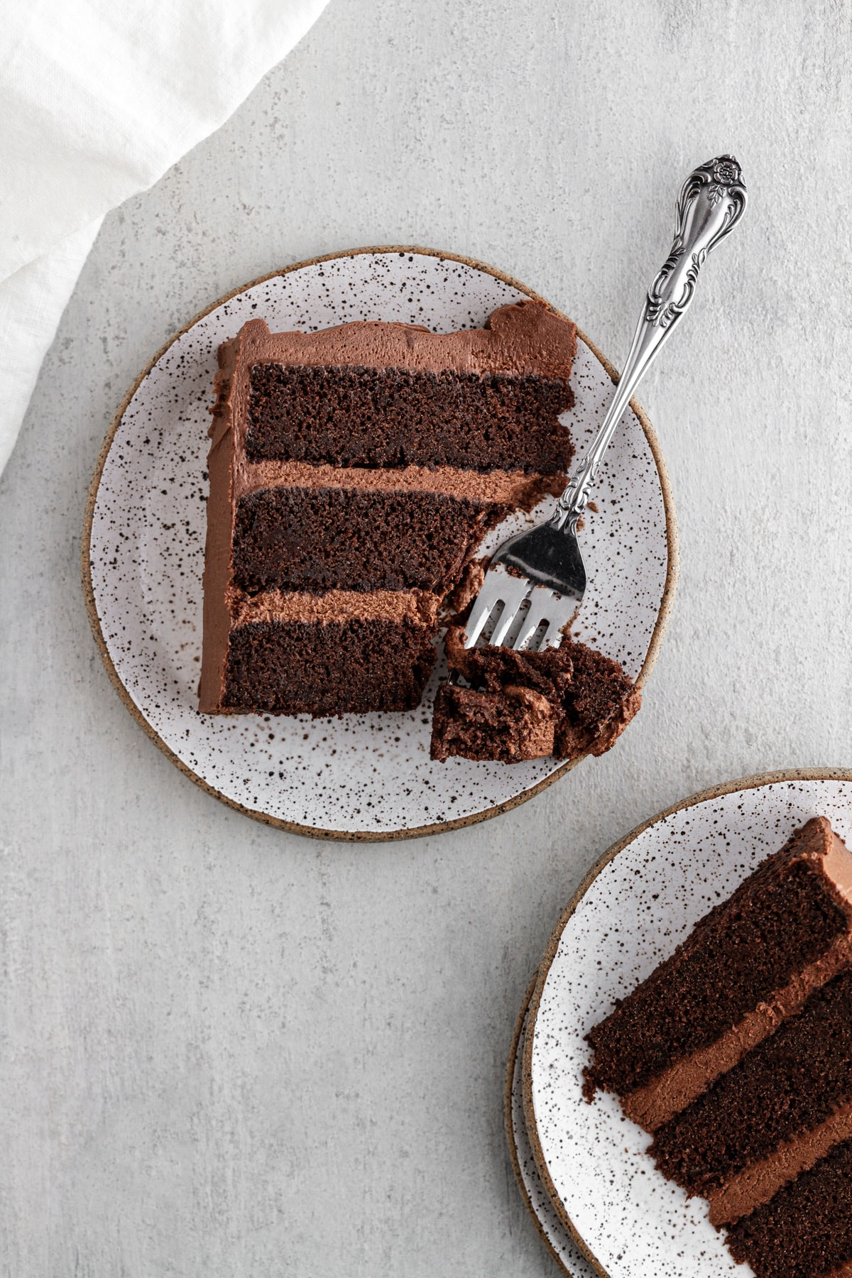 slices of Devil's Food Cake on plates