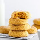 stack of pumpkin snickerdoodles on a cooling rack