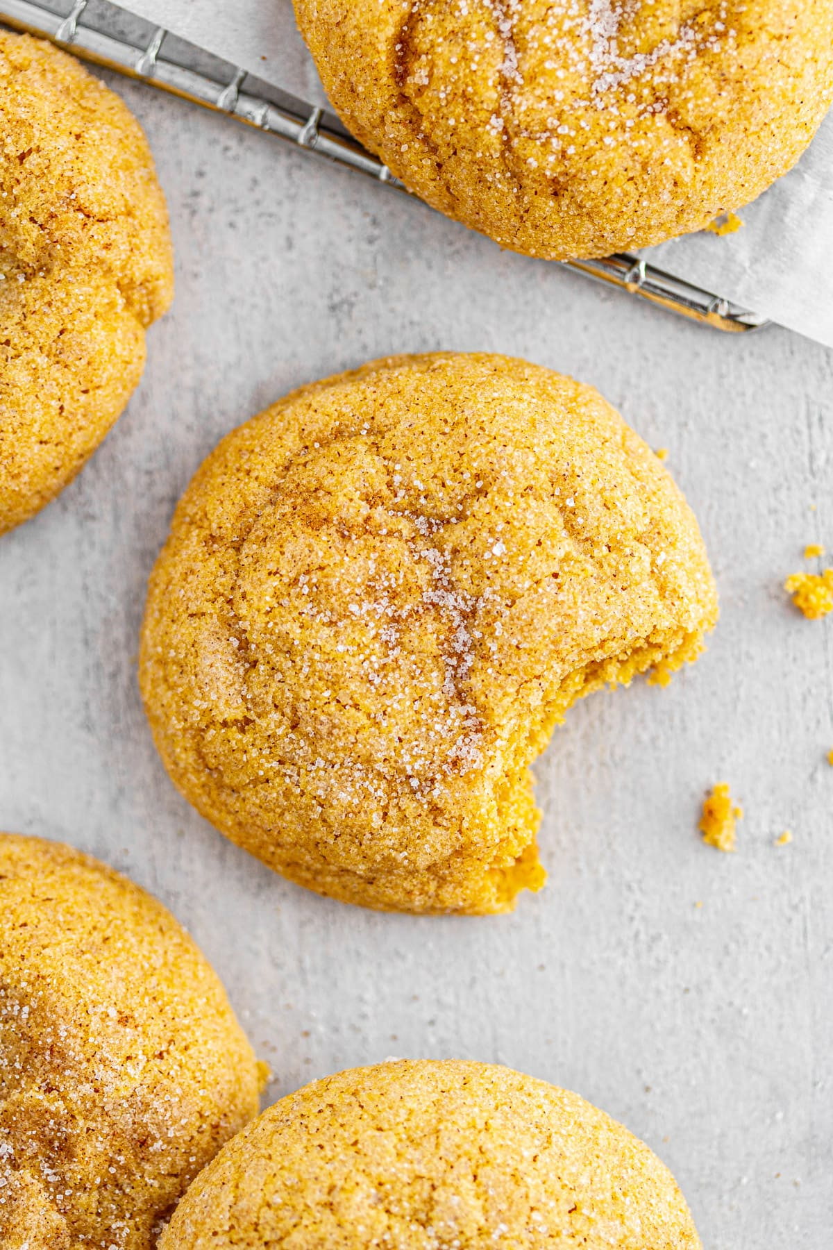 pumpkin snickerdoodles on a surface with a bite taken out of one