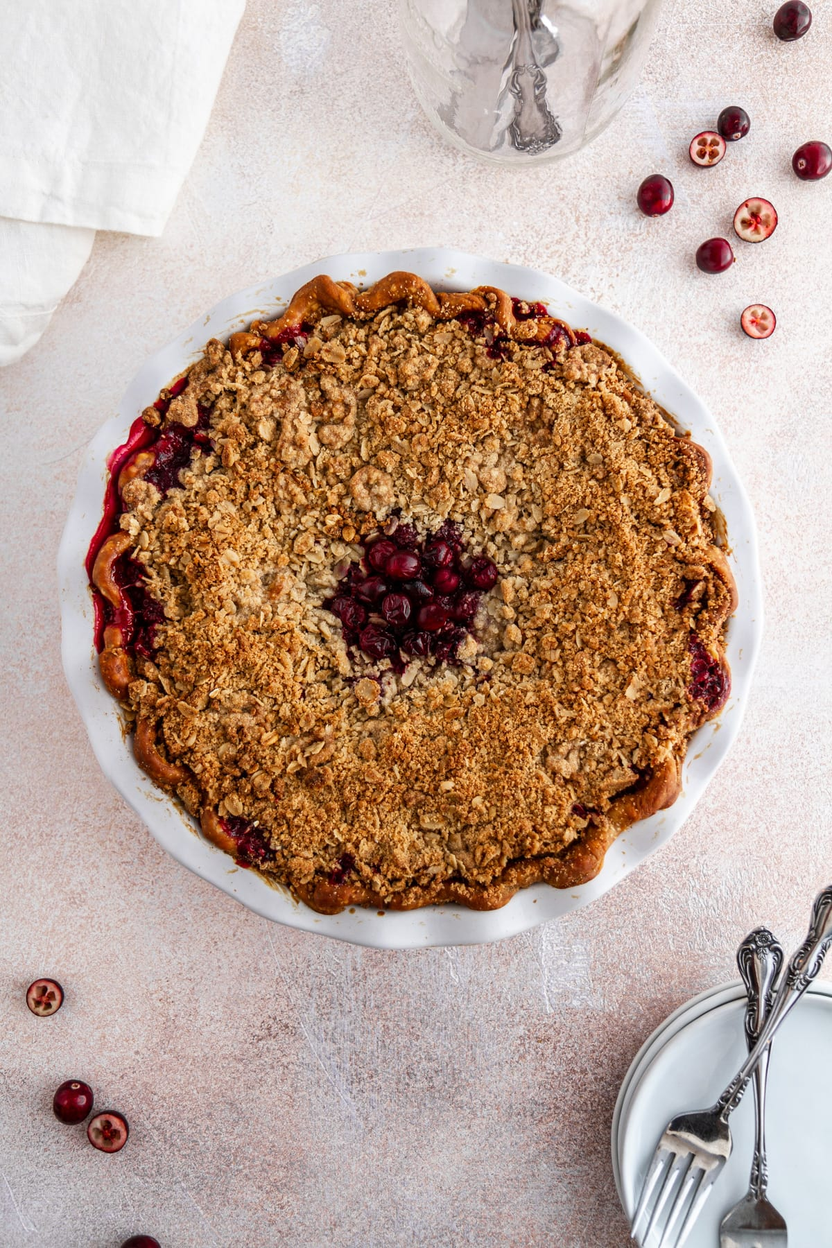 cranberry crumble pie on a surface