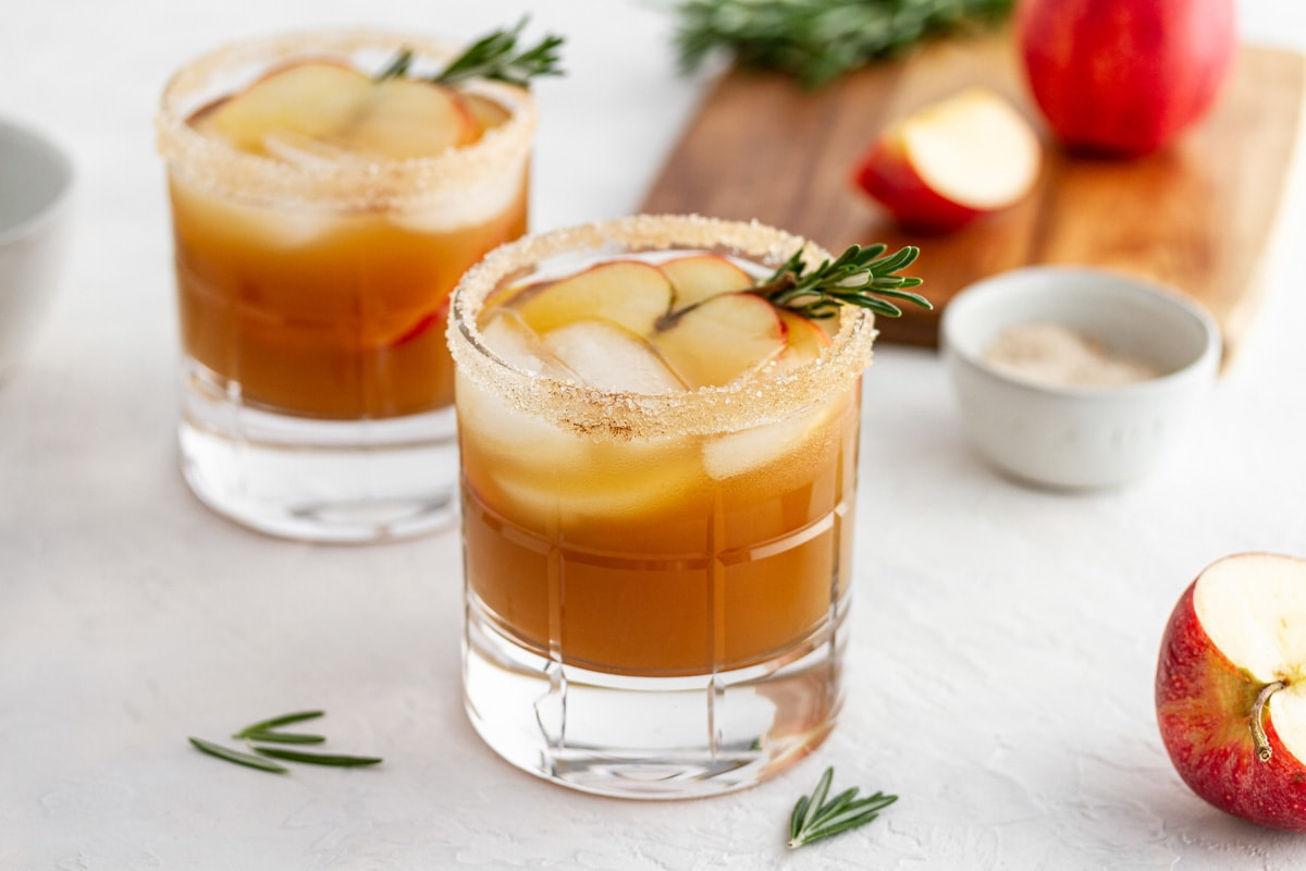 harvest apple ginger smash cocktails on a surface