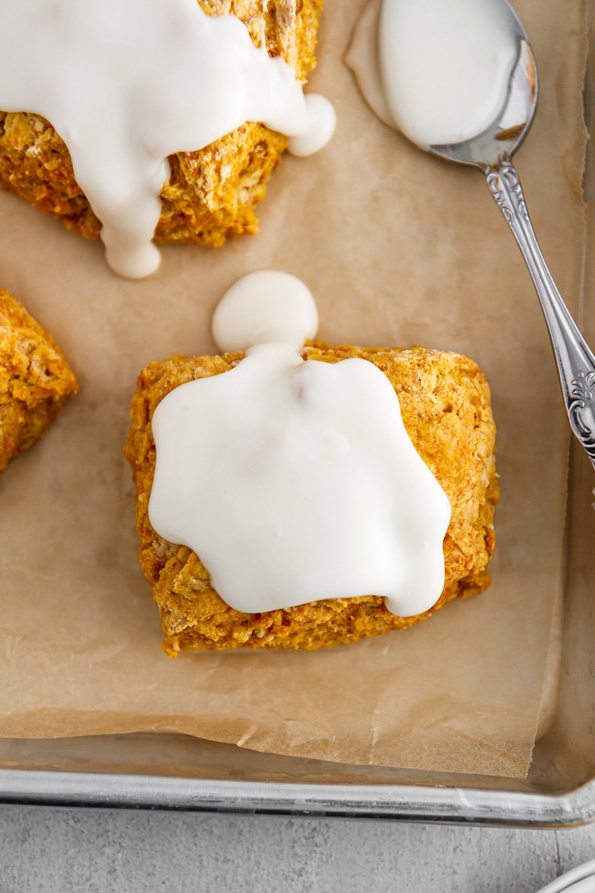 sweet potato biscuits with marshmallow icing on top