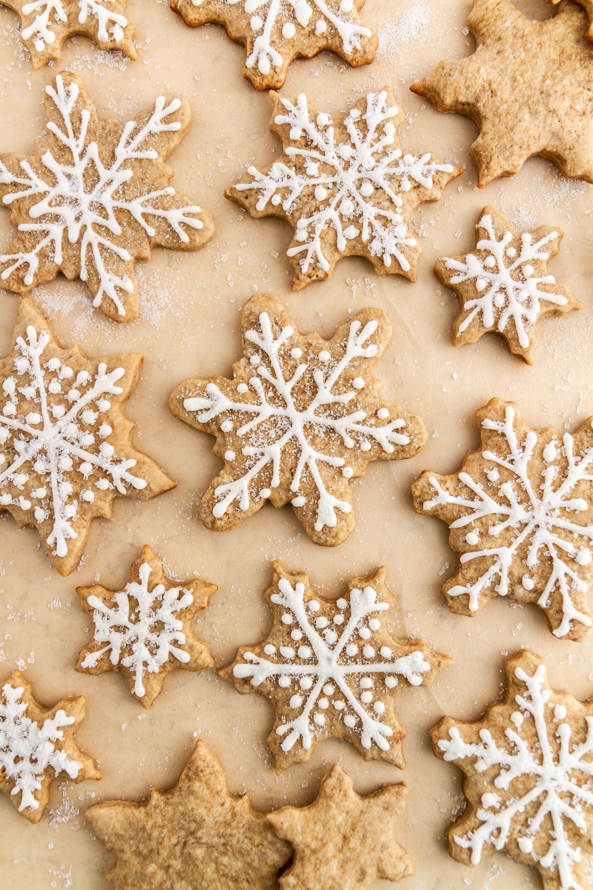 eggnog latte cutout cookies on parchment paper
