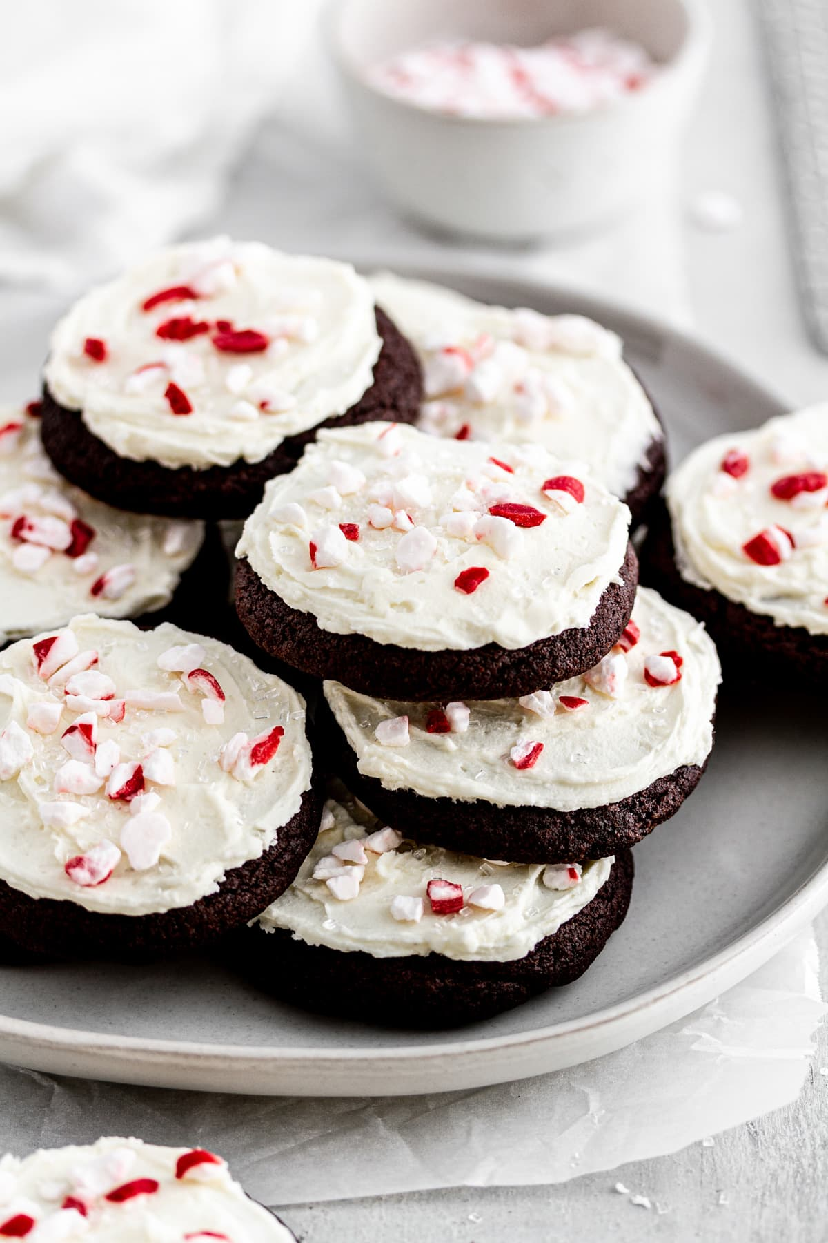 chocolate peppermint cookies stacked on a plate