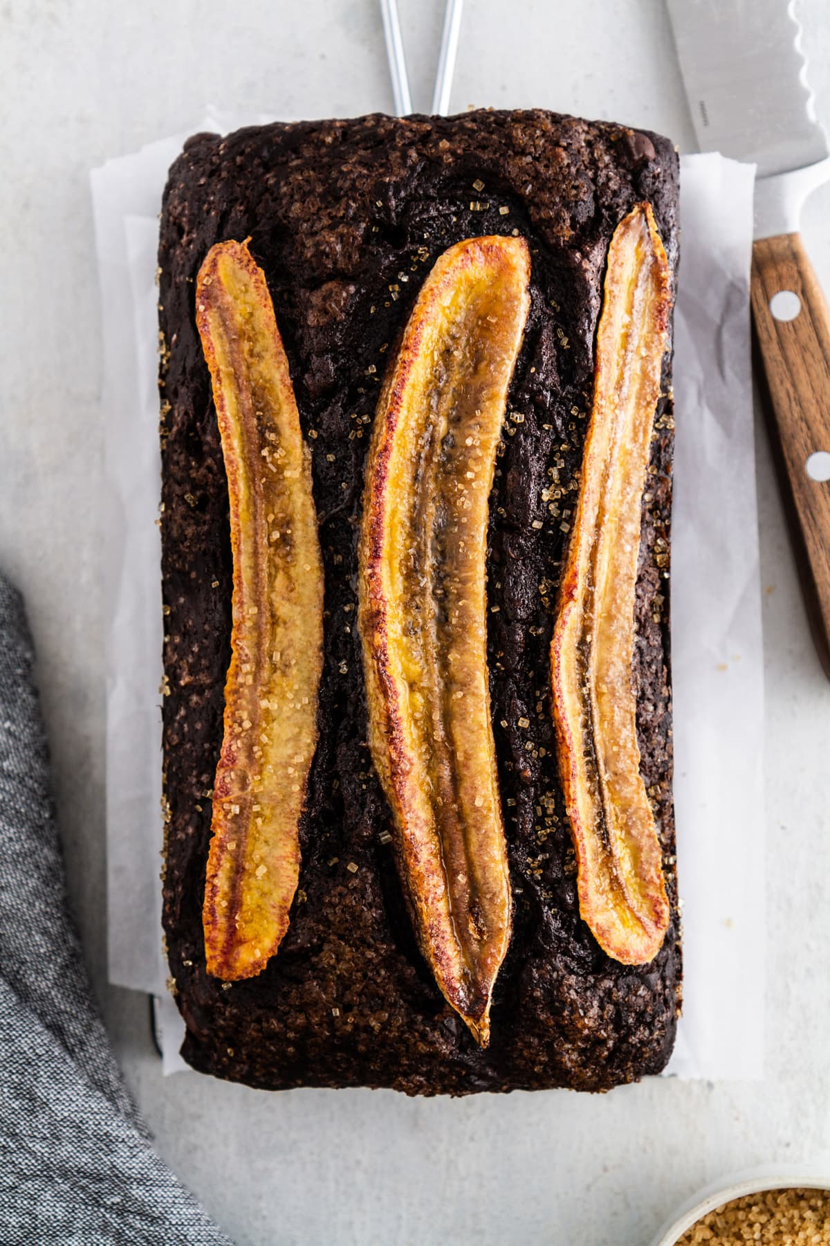 chocolate banana bread on a cooling rack