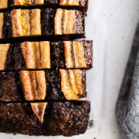 sliced chocolate banana bread on a surface