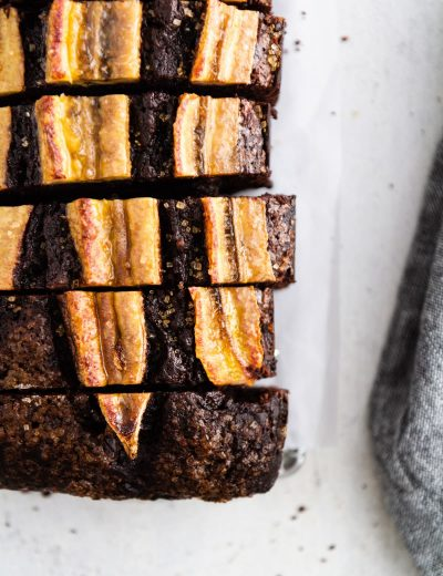 sliced chocolate banana bread on a surface