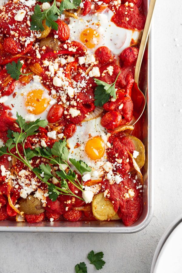 sheet pan shakshuka on a surface