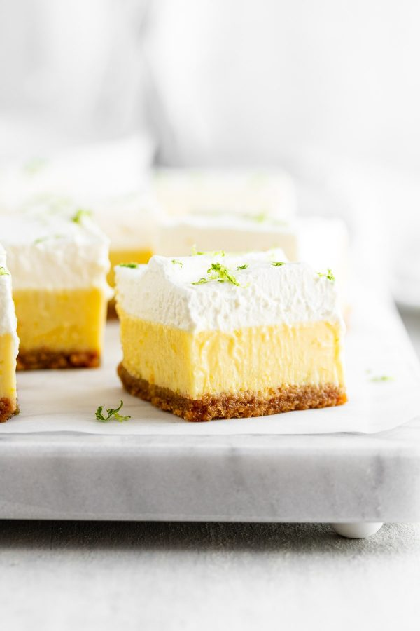 close-up of a Key Lime Pie Bar on a surface