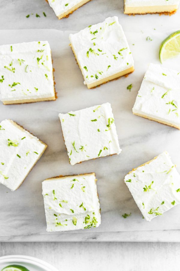 overhead shot of Key Lime Pie Bars on a surface