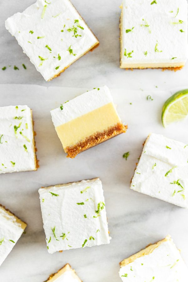 slices of Key Lime Pie Bars on a surface