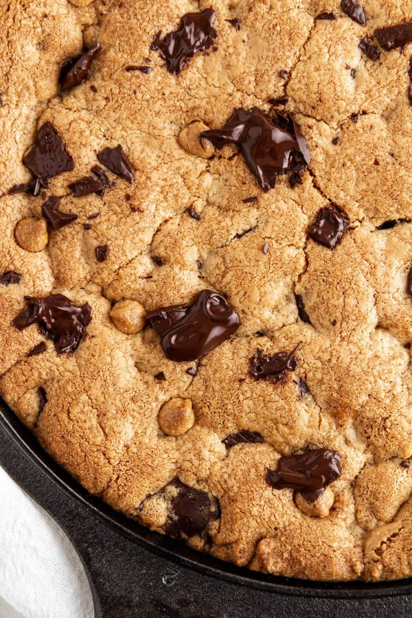 close-up of a peanut butter chocolate skillet cookie