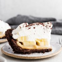 a slice of banoffee pie on a plate