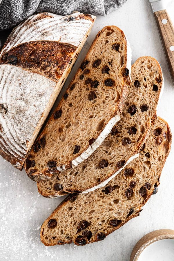 sliced cinnamon raisin sourdough bread on a surface