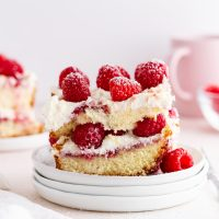 a piece of raspberry pound cake tiramisu on a stack of plates