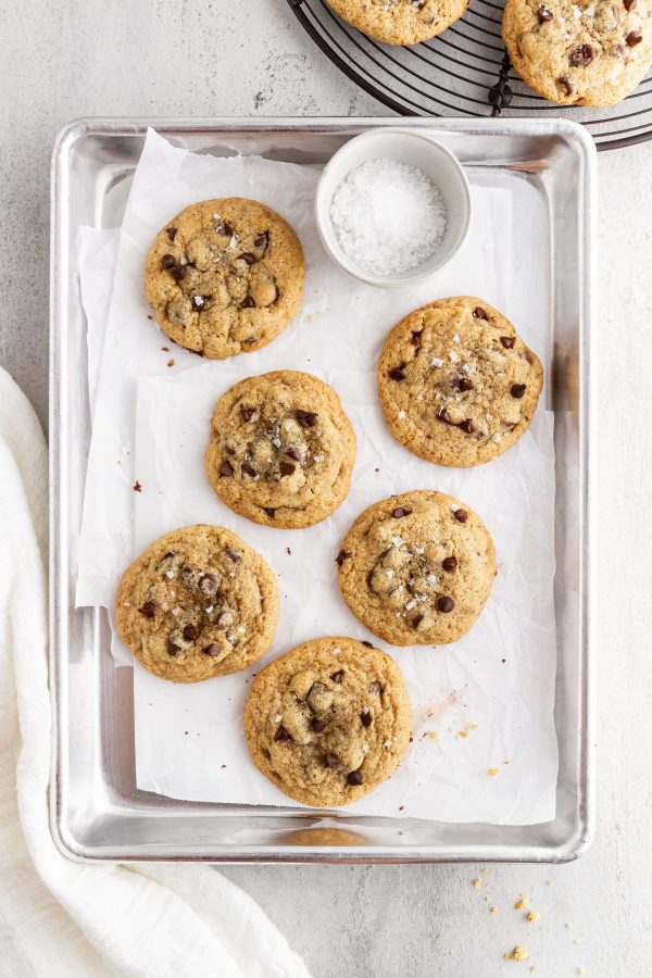 gluten free chocolate chip cookies on a baking sheet