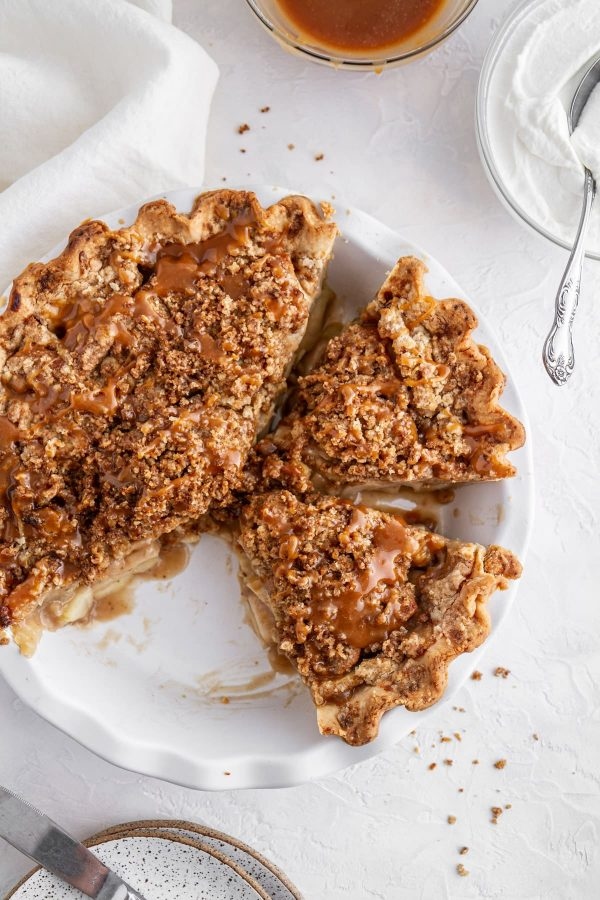overhead shot of Dutch caramel apple pie in a pie plate