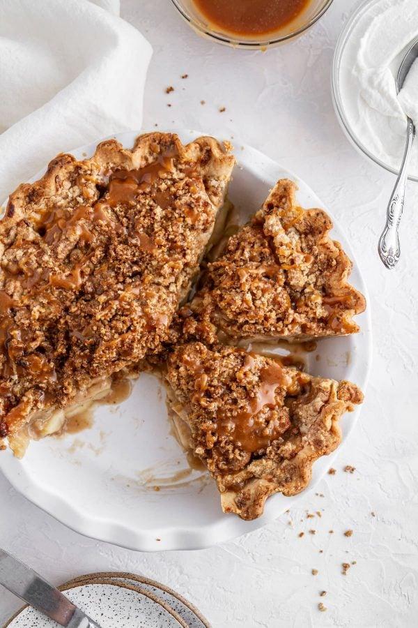overhead shot of Dutch caramel apple pie in a pie plate