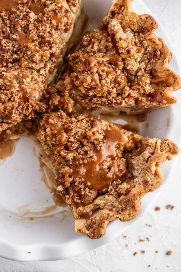 overhead shot of slices of Dutch caramel apple pie