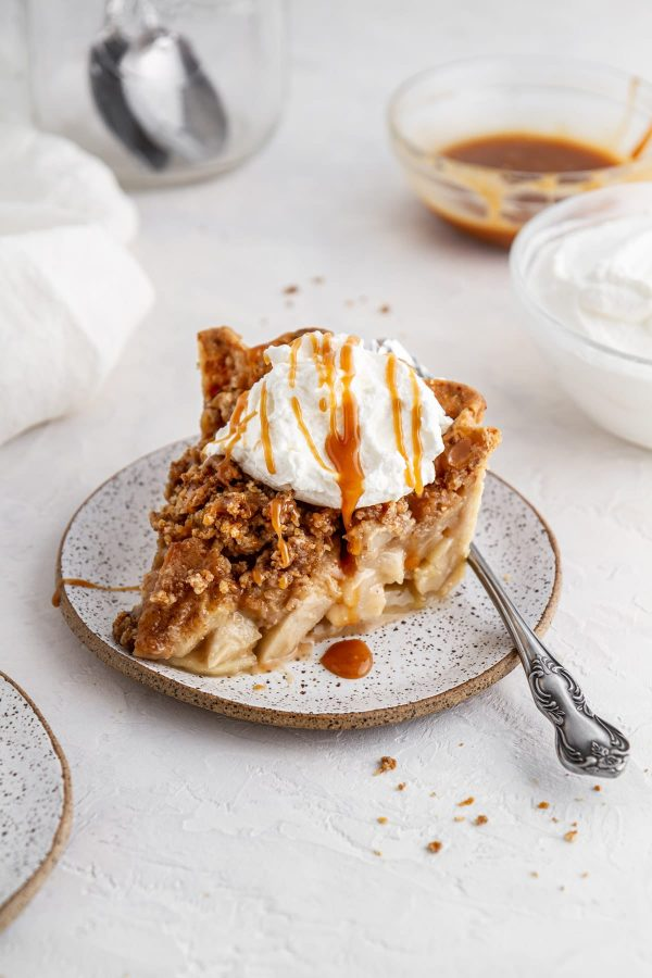 slice of Dutch caramel apple pie on a plate