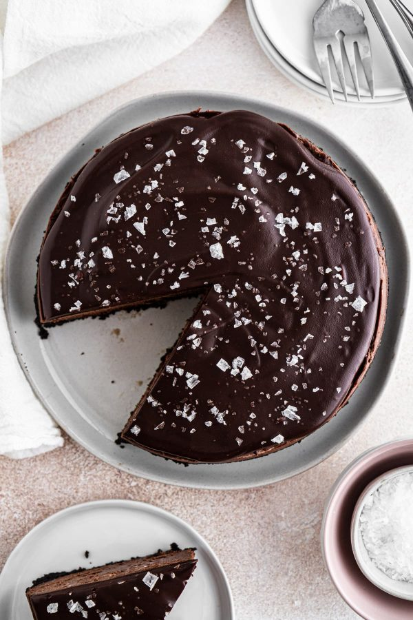 overhead shot of instant pot chocolate cheesecake on a plate