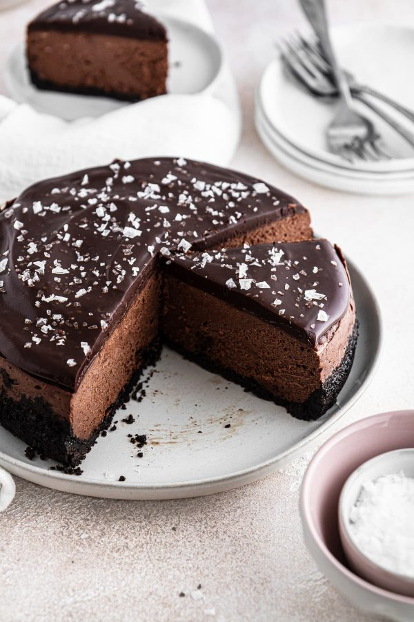sliced instant pot chocolate cheesecake on a plate