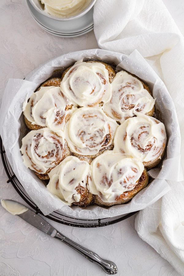 sourdough cinnamon rolls in a pan