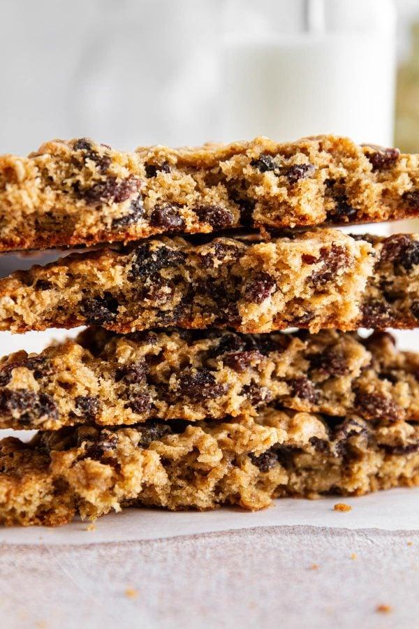 close-up of giant oatmeal-raisin cookies broken in half