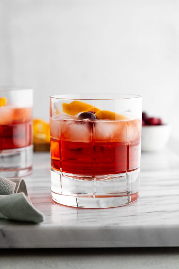 holiday negroni in a glass on a surface