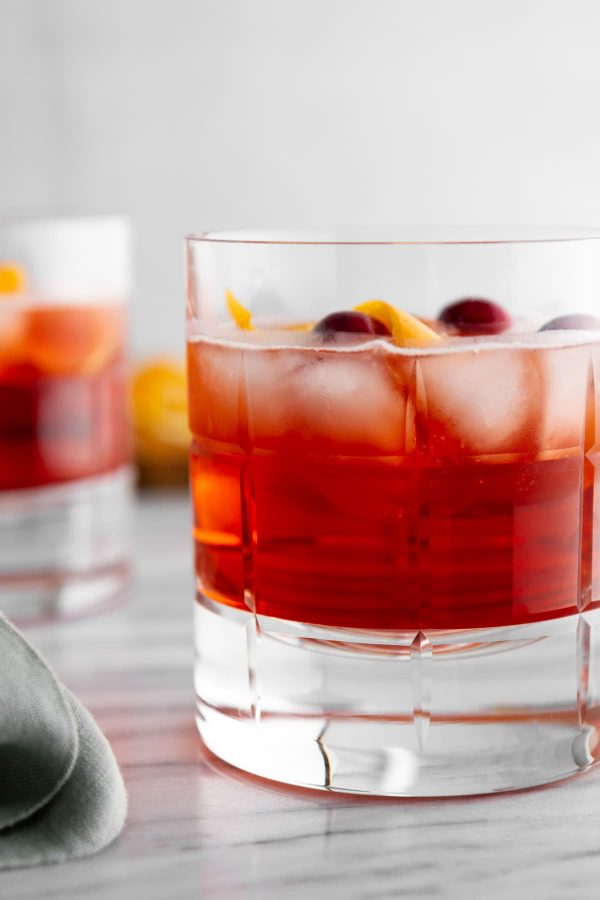 close-up of a holiday negroni in a glass