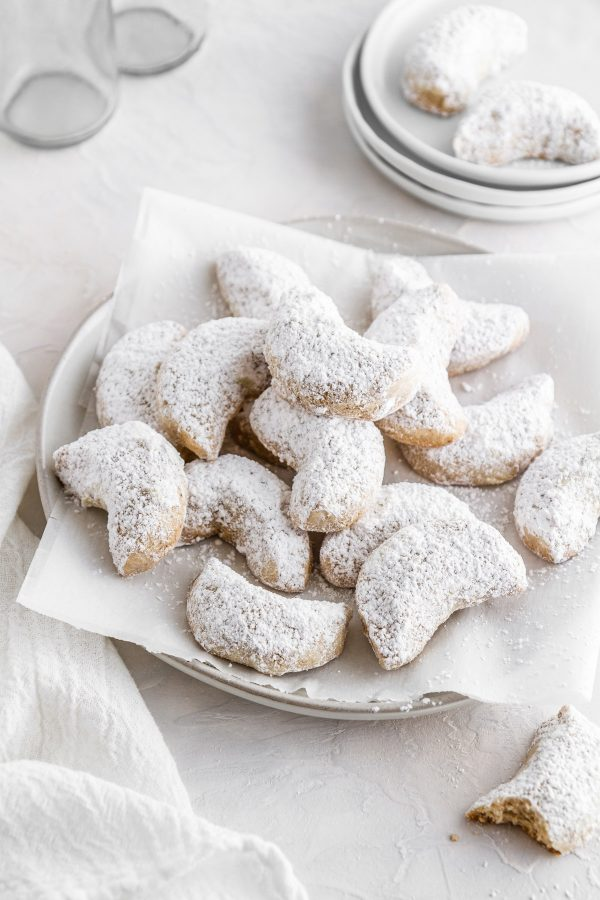 a plate of chai-spiced crescent cookies