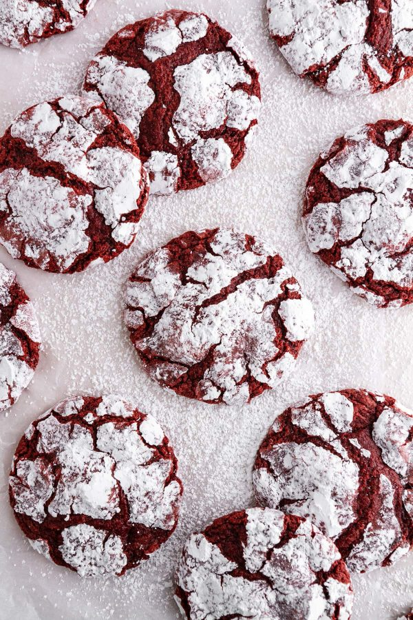 overhead shot of red velvet crinkle cookies