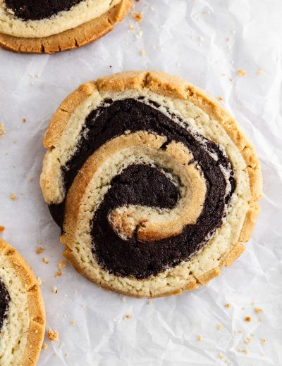 peanut butter brownie swirl cookie on parchment