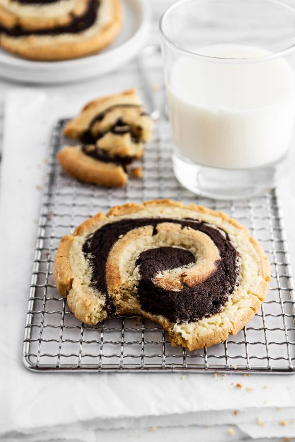 peanut butter brownie swirl cookies on a cooling rack