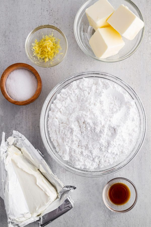 ingredients for cream cheese frosting flatlay