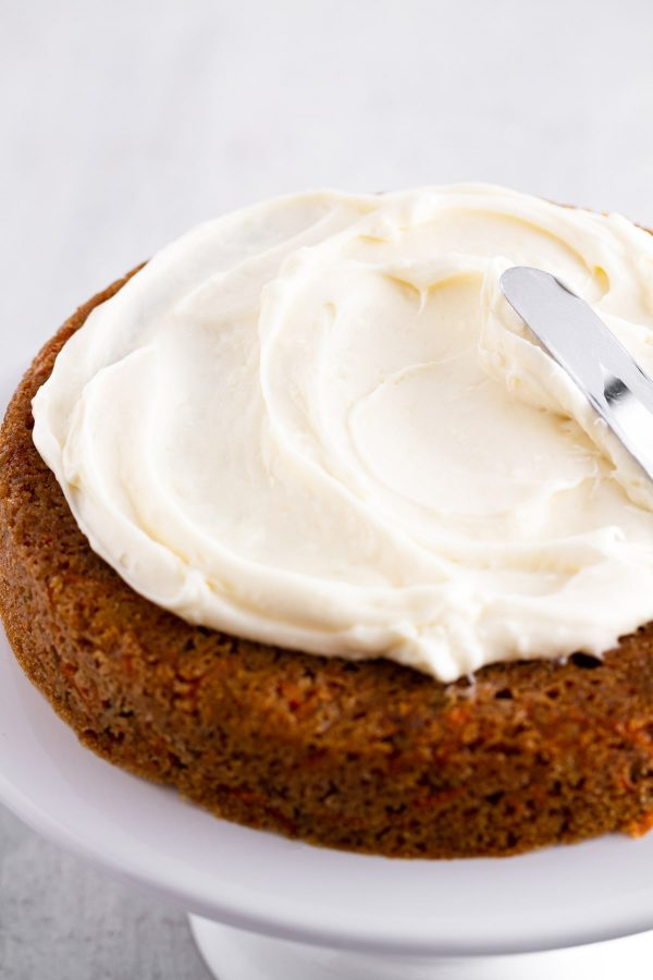 cream cheese frosting on carrot cake