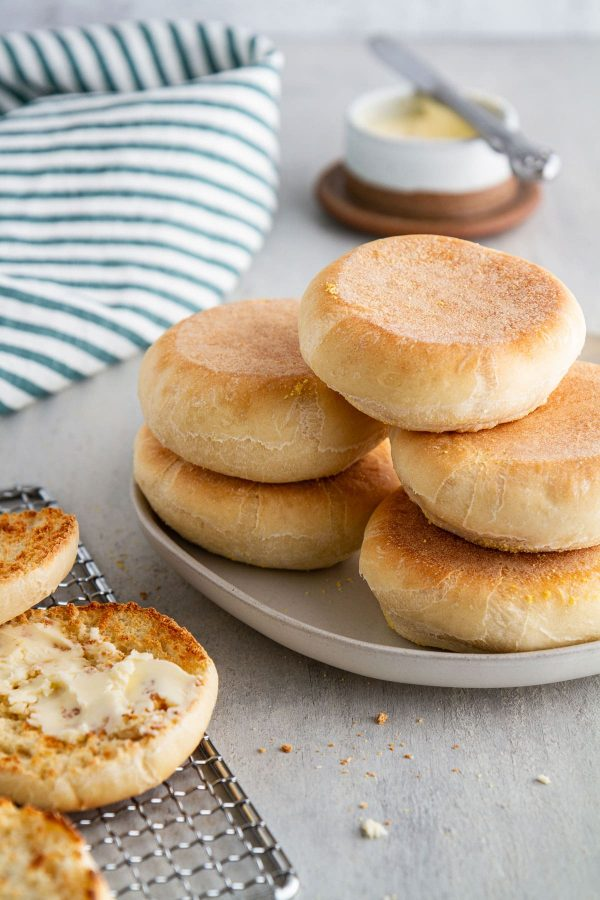 stacked English muffins on a plate