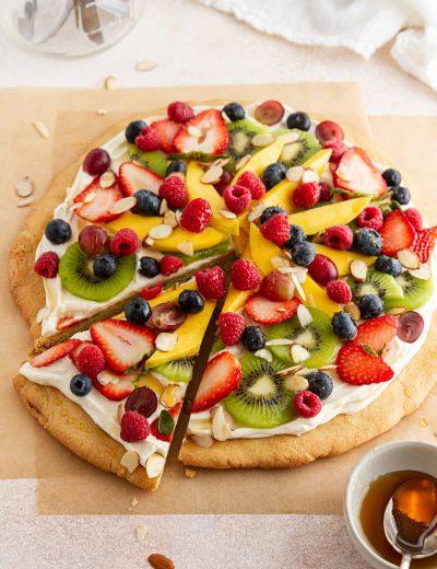 fruit pizza on parchment paper